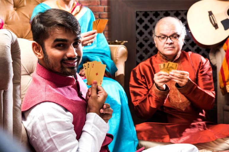 Indian men playing Teen Patti